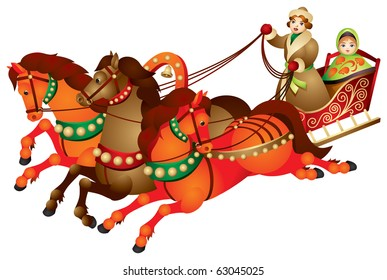 Troika, traditional Russian harness driving combination, three horses pulling a sleigh, vector image