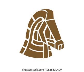 Trojan Head Horse Symbol Illustration
