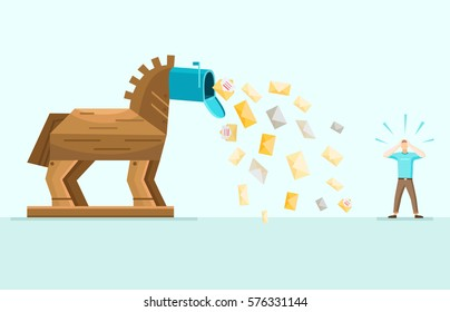 Trojan horse aggressive spam mail danger waring allegoric image with envelops falling from inbox flat vector illustration