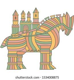 Trojan Horse Art Drawing Illustartion