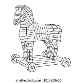 Trojan horse coloring vector illustration. Isolated image on white background. Comic book style imitation.
