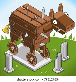 Trojan horse, heavily armed, with antique marble columns in landscape (isometric illustration)