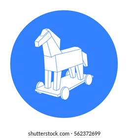 Trojan horse icon in outline style isolated on white background. Hackers and hacking symbol stock vector illustration.