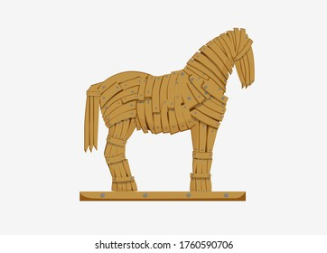 Trojan horse illustration. Mythicaln statue horse military deception Greek troops monument to historical trick war imperceptible penetration infliction of tangible vector damage.