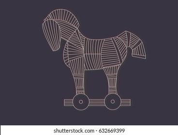 Trojan horse for illustration. Stock Vector