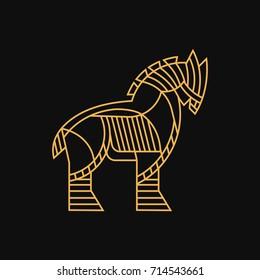 TROJAN HORSE LOGO LINE ART ILLUSTRATION