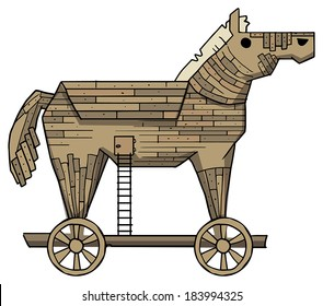 Trojan horse on a white background vector illustration