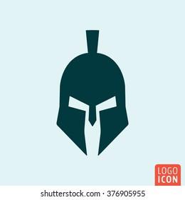 Trojan icon. Gladiator helmet icon isolated minimal design. Vector illustration.