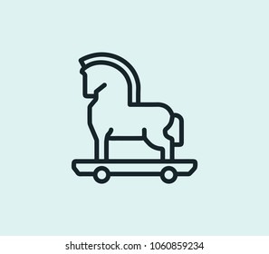 Trojan icon line isolated on clean background. Trojan icon concept drawing icon line in modern style. Vector illustration for your web site mobile logo app UI design.