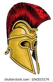 A Trojan, Spartan ancient Greek or Roman gladiator warrior helmet