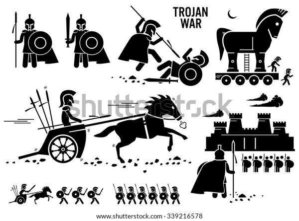 Троянская война Лошадь греческий Рим Воин Трой Спарта Спартанская палка Рисунок Пиктограмма Иконки