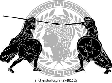 trojan war. stencil. vector illustration