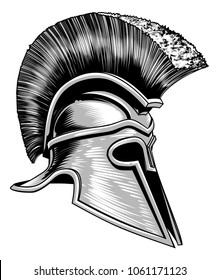 A Trojan warrior, Spartan ancient Greek or Roman gladiator helmet