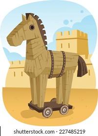 Trojan Wooden Horse Ancient Greece Animal Troy War, vector illustration cartoon.