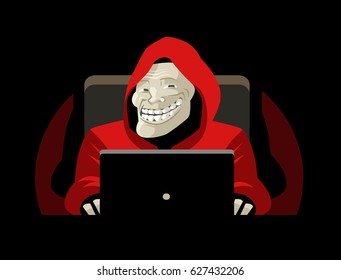 troll face smile using a computer
