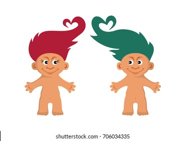 Troll love vector. Cute creatures with colored hair. Troll cartoon character isolated on white background