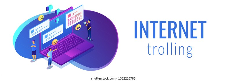 Troll quarreling and upsetting tiny people on internet with dislikes and messages. Internet trolling, digital harassment, internet behaviour concept. Isometric 3D banner header template copy space.