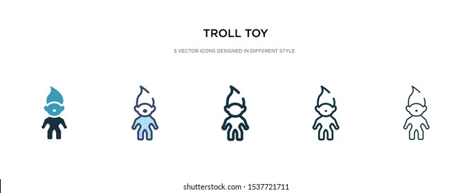 troll toy icon in different style vector illustration. two colored and black troll toy vector icons designed in filled, outline, line and stroke style can be used for web, mobile, ui