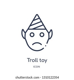 troll toy icon from toys outline collection. Thin line troll toy icon isolated on white background.