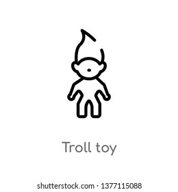 troll toy vector line icon. Simple element illustration. troll toy outline icon from toys concept. Can be used for web and mobile