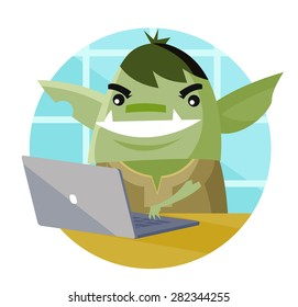 a troll using a computer