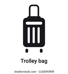 Trolley bag icon vector isolated on white background, Trolley bag transparent sign , black symbols