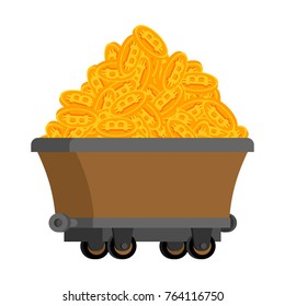 Trolley of bitcoins isolated. Miner tool. Mining Extraction of crypto currency. Vector illustration