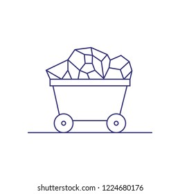Trolley with coal line icon. Coal mining, treasure, mineral. Extraction concept. Vector illustration can be used for topics like industry, metallurgy, transportation