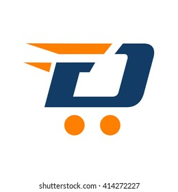 trolley and delivery logo, FD initial