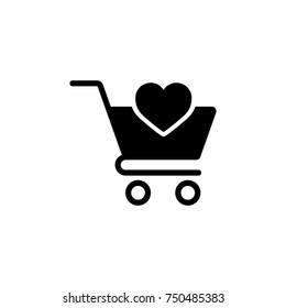 trolley with heart, web store, simple icon black on white
