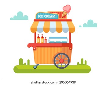 Trolley with ice cream. Cart and sweet, ice cream, kiosk and marketplace. Vector illustration