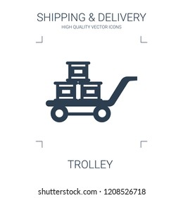 trolley icon. high quality filled trolley icon on white background. from shipping delivery collection flat trendy vector trolley symbol. use for web and mobile