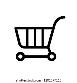 Trolley Icon Vector Online Shop on White Background. Line Art Style. EPS 10.