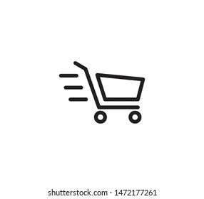 Trolley icon vector shopping illustration