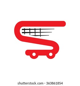 trolley. letter S. logo vector.