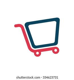 trolley logo. shopping symbol. vector icon.