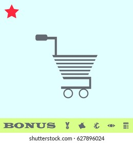 Trolley for products icon flat. Grey pictogram on blue background. Vector illustration symbol and bonus buttons medal, cow, earth, eye, calculator