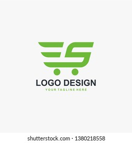 Trolley shop and letter S logo vector. Abstract business logo design.