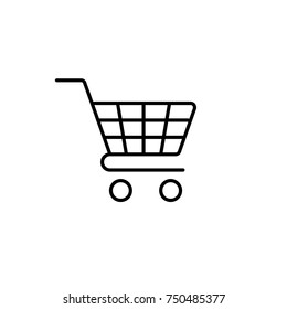trolley, shopping, market basket, web store line icon black on white