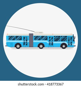 trolleybus icon flat design. vector city transportation.