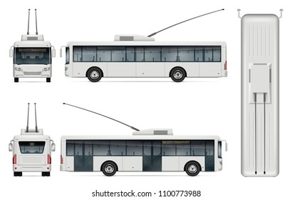 Trolleybus vector mockup on white background for vehicle branding, corporate identity. View from side, front, back, top. All elements in the groups on separate layers for easy editing and recolor.