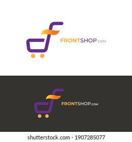 Trolly Concept Design Illustration of letter F, Vector Template Suitable for Creative Industries, Multimedia, Malls, Shopping, Shops and Related Business Industries