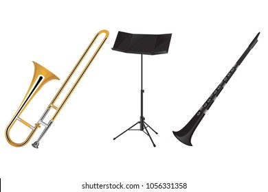 Trombone, clarinet and orchestra music stand vector illustration.