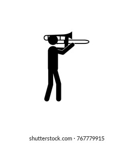 Trombone player icon. Silhouette of a musician icon. Premium quality graphic design. Signs, outline symbols collection icon for websites, web design, mobile app on white background