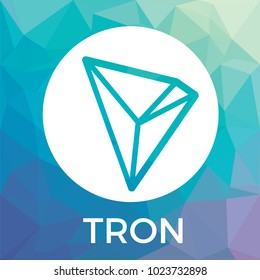 Tron (TRX) decentralized blockchain In-app-purchases payments. Tron cryptocurrency vector logo.