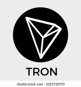 Tron (TRX) decentralized blockchain In-app-purchases payments cryptocurrency. TRON vector dark logo.