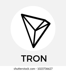 Tron (TRX) decentralized blockchain In-app-purchases payments. Tron cryptocurrency vector black white logo.