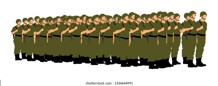 Troop of soldiers formation vector illustration isolated on white background. Saluting army soldier's (Memorial day, Veteran's day, 4th of July, Independence day).