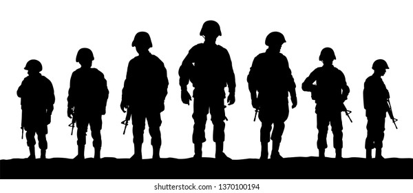 A troops of soldiers silhouette vector