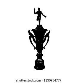 Trophies of the athletes in silhouette clip art with design on white background
